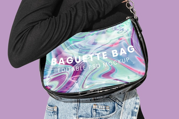 Holographisches baguette-taschenmodell psd
