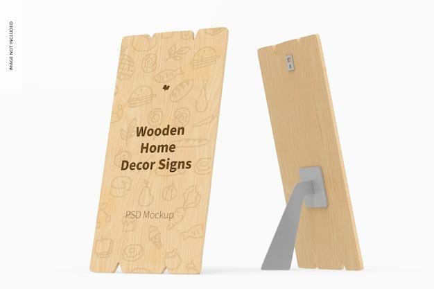 Holz home decor signs mockup, vorder- und rückansicht