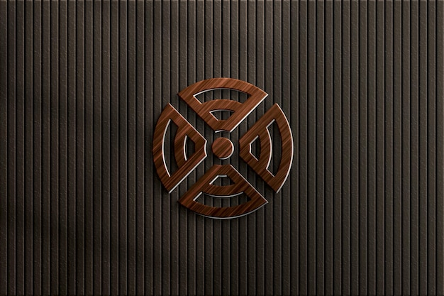 Holz-logo-mockup an der wand