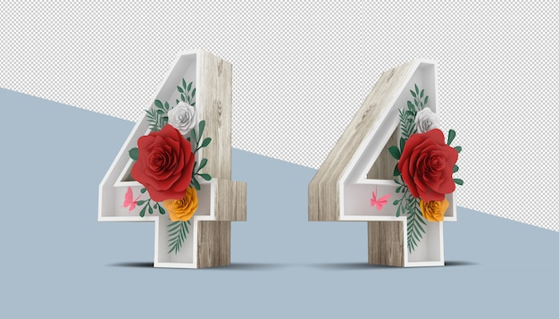 Holz nummer 4 mit bunter blumendekoration, 3d-rendering