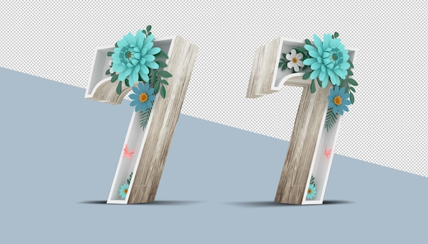 Holz nummer 7 mit bunter blumendekoration, 3d-rendering