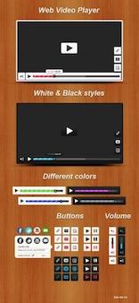 Holz-video-player-schnittstelle mit bunten ui-elemente