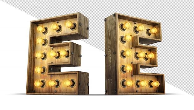 Holzalphabet glühbirne 3d rendering illustration