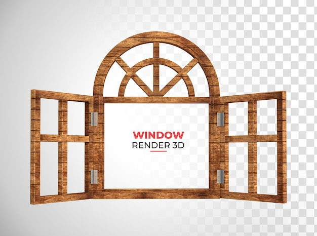 Holzfenster 3d-rendering