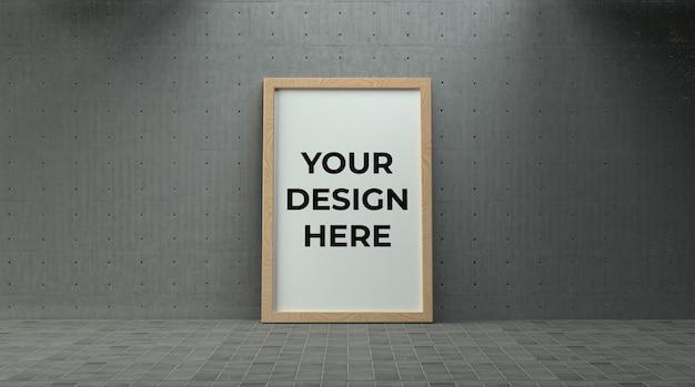 Holzplakat oder bilderrahmen auf betonwand mit industrieumgebungsmodell verlegt