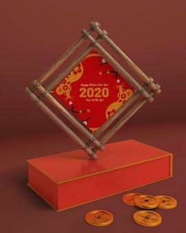 Holzrahmen des modells mit datum des neuen jahres