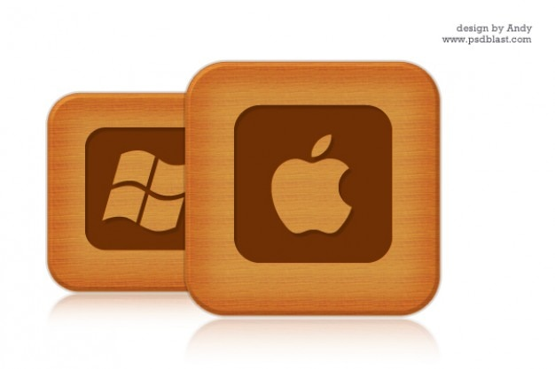 Holzstil sozialen icon set 1