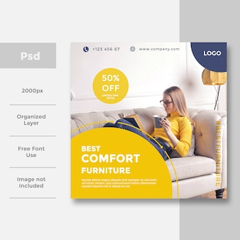 Home interior social media bannerwerbung design