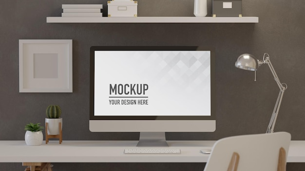 Home-office-raum des 3d-renderings mit blumentöpfen der computerlampe