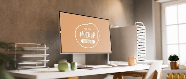 Home-office-schreibtisch des 3d-renderings mit computermodell
