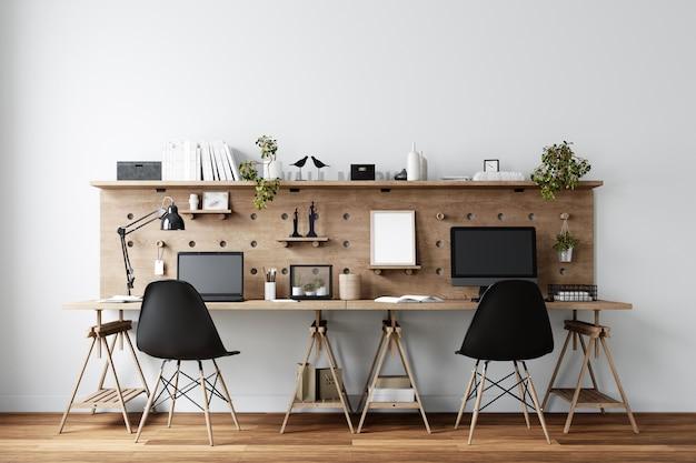 Home office workspace innenwandmodell