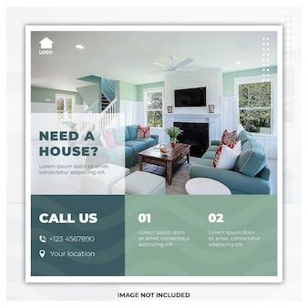Home zum verkauf flyer social media post