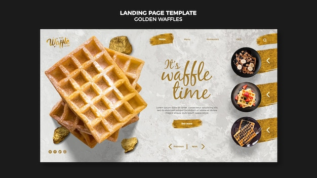 Homepage-vorlage für goldene waffeln