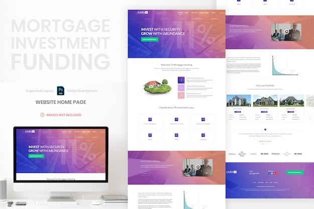 Homepage-vorlage für hypotheken-immobilieninvestment-website premium psd