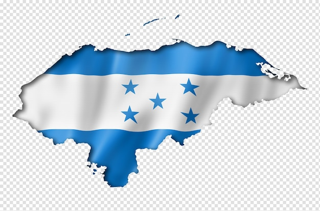 Honduras flaggenkarte im dreidimensionalen render isoliert