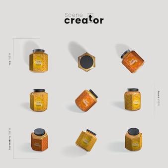 Honig in der glasansicht des frühlingsszenenschöpfers