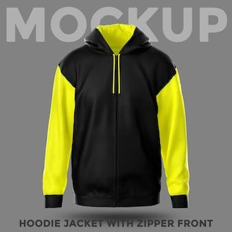 Hoodie-jacke mit vorderansicht und reißverschlussmodell