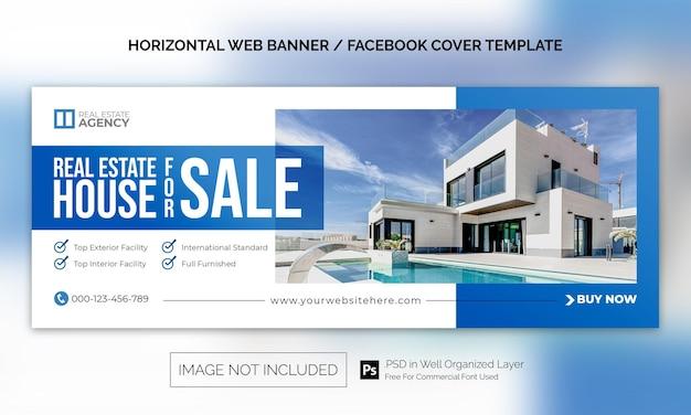 Horizontale banner- oder facebook-cover-werbevorlage für immobilien-haus-eigenschaften