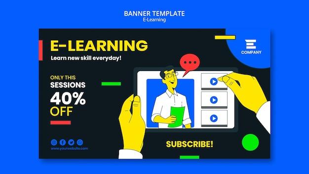 Horizontale banner-vorlage der e-learning-plattform