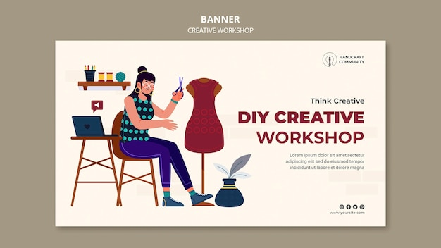Horizontale banner-vorlage des kreativen workshops