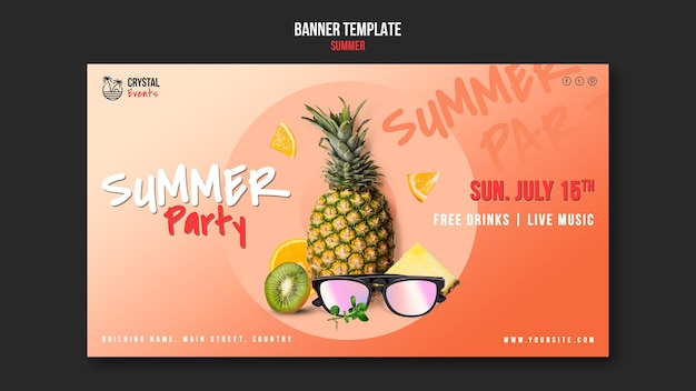 Horizontale banner-vorlage des sommers