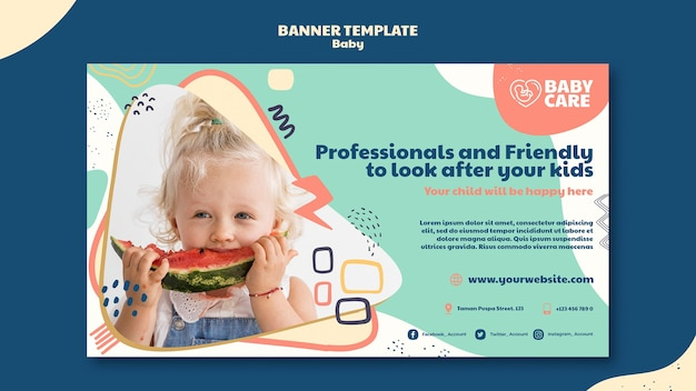 Horizontale banner-vorlage für babypflegeprofis