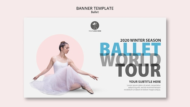Horizontale banner-vorlage für ballettaufführung