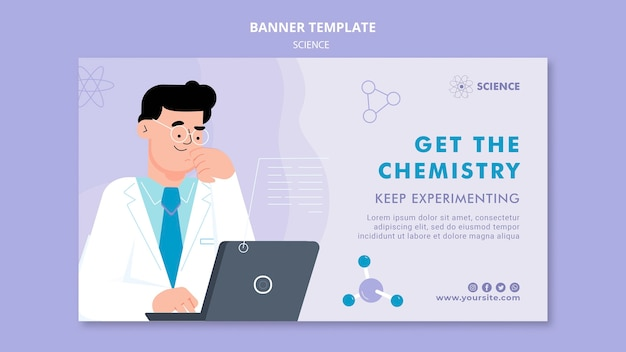 Horizontale banner-vorlage für chemie