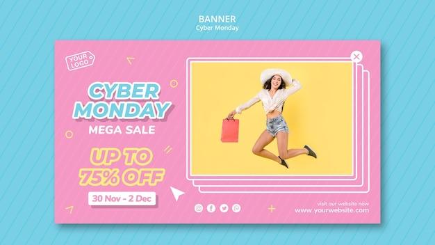 Horizontale banner-vorlage für cyber-montag-shopping