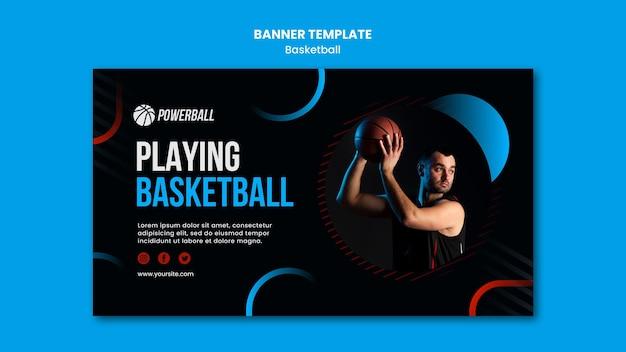 Horizontale banner-vorlage für das spielen des basketballspiels