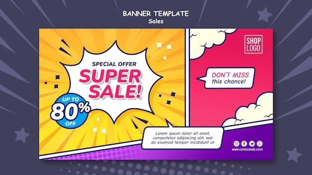 Horizontale banner-vorlage für den verkauf im comic-stil