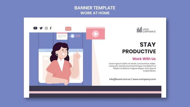 Horizontale banner-vorlage für die arbeit von zu hause aus