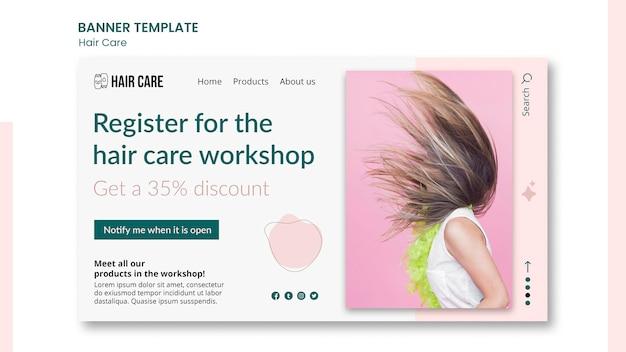 Horizontale banner-vorlage für die haarpflege
