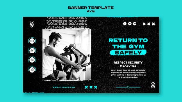 Horizontale banner-vorlage für die rückkehr zum fitnessstudio