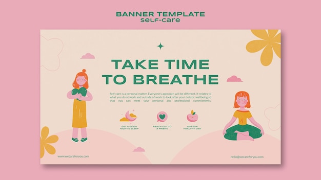 Horizontale banner-vorlage für die selbstpflege