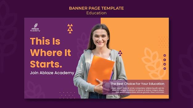 Horizontale banner-vorlage für die universitätsausbildung