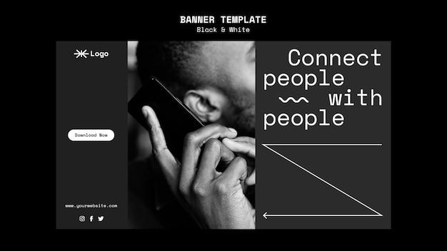 Horizontale banner-vorlage für die verbindung von personen-app