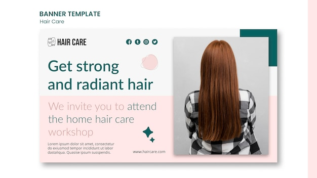 Horizontale banner-vorlage für haarpflegehinweise
