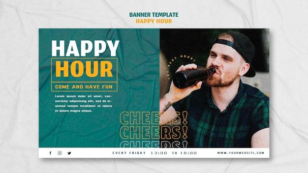 Horizontale banner-vorlage für happy hour Kostenlosen PSD