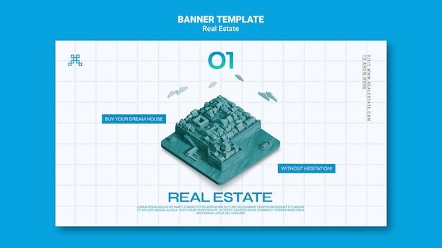 Horizontale banner-vorlage für immobilien