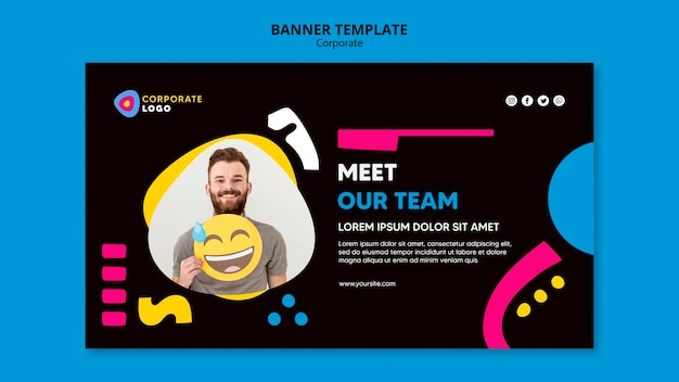 Horizontale banner-vorlage für kreatives unternehmensteam