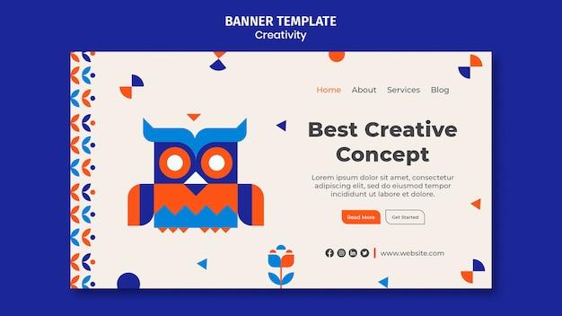 Horizontale banner-vorlage für kreativität