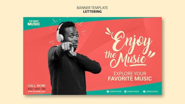 Horizontale banner-vorlage für musik