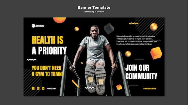 Horizontale banner-vorlage für selbsttraining und training