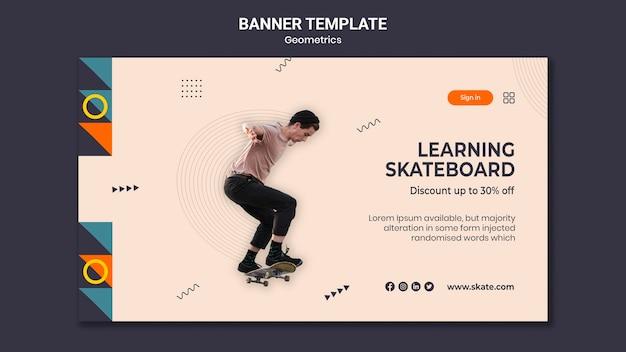 Horizontale banner-vorlage für skateboarding