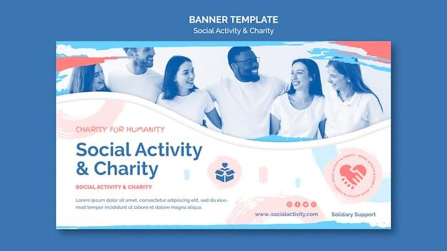 Horizontale banner-vorlage für soziale aktivität und wohltätigkeit