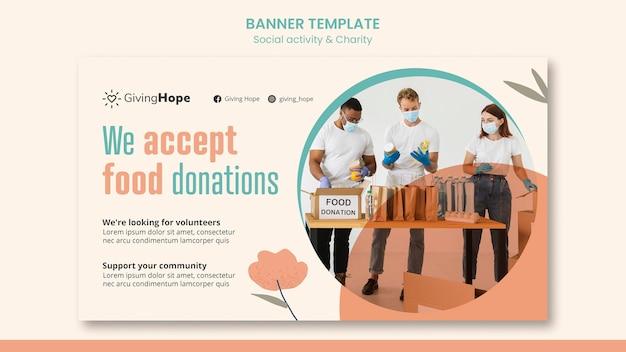 Horizontale banner-vorlage für soziale aktivitäten