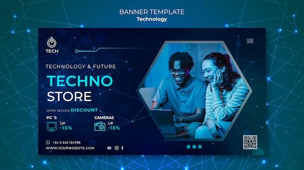 Horizontale banner-vorlage für techno store