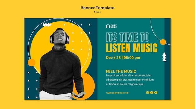 Horizontale banner-vorlage zum genießen von musik