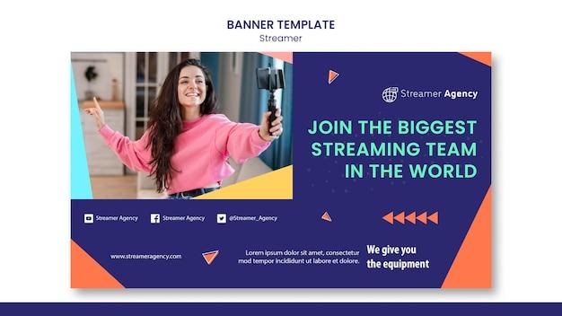 Horizontale banner-vorlage zum streamen von online-inhalten